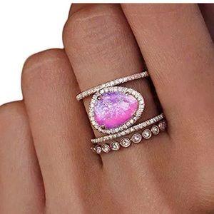 {DANIELLE} boho pink moonstone double ring